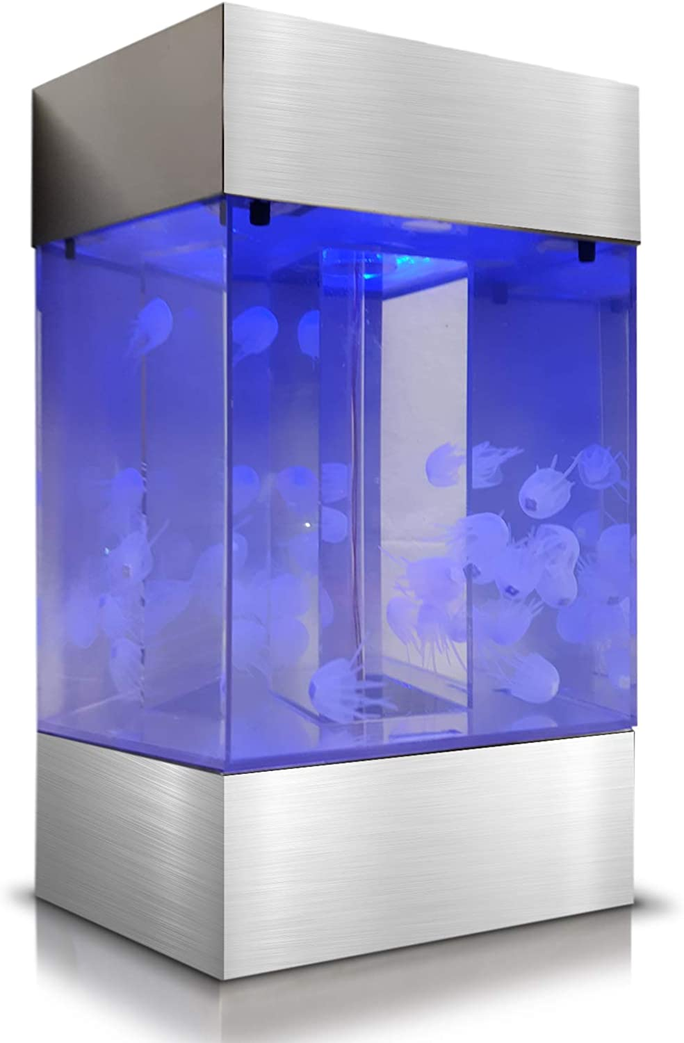 Large Glass Jelly Fish Tank Lamp  Jellyfish Aquarium with Faux Jellyfish That Swim and Look Alive, color Changing Light Show and Remote Control