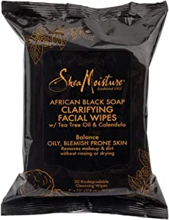 Sponsored Ad - SheaMoisture Clarifying Facial Wipes for Oily, Blemish-Prone Skin African Black Soap to Clarify Skin 30 cou...