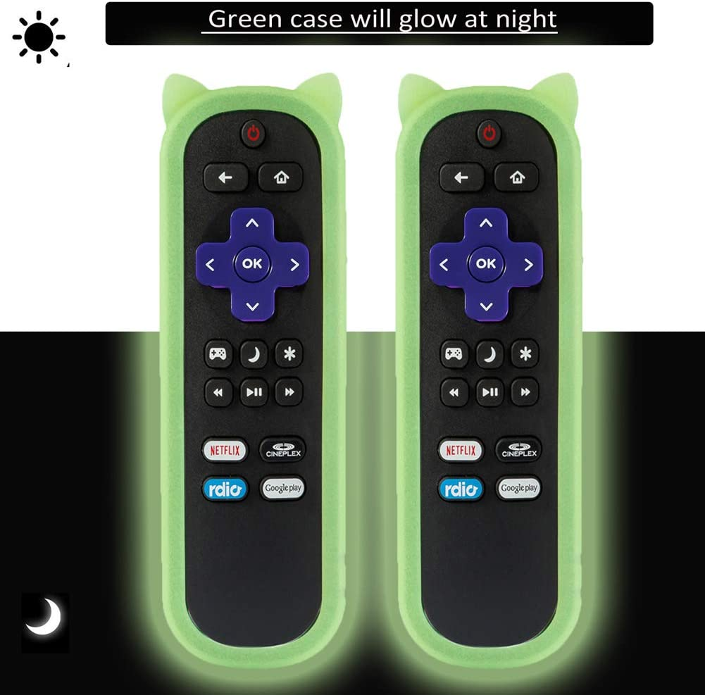 (2 Pack) Universal Protective Remote Case/Cover for Roku Streaming Stick 3600R/ONN/TCL/Sharp/Insignia/Hisense/Toshiba/LG/Hitachi Roku TV Remote, Shock Proof Silicone Remote Control Cover - Glow Case