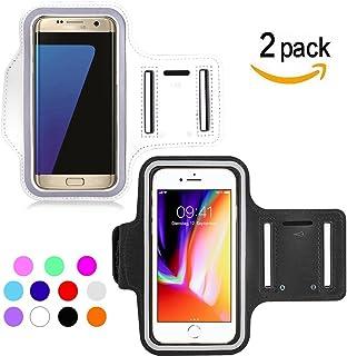 Ycloud [2 Pack] Brazalete Ajustable para HTC Desire 12+/HTC Desire 12/HTC Desire 526G/HTC Desire 626G, Adecuado para brazaletes Deportivos al Aire Libre hasta 5.5pulgada de Tamaño(Blanco+Negro)