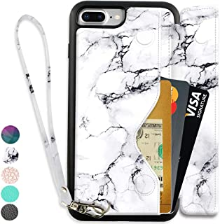 ZVEdeng Wallet Case with Card Holder for iPhone 7 Plus/iPhone 8 Plus(5.5inch), iPhone 8 Plus Case with Wrist Strap, iPhone 7 Plus Printed Case Marble, iPhone 7 Plus Case with Lanyard- White Marble