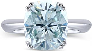 2ct 7X8mm Cushion Cut 2.4mm Width 8 Prongs Lab Grown Moissanite Engagement Rings Platinum Plated Silver