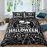 Halloween Duvet Cover King Size Skulls Couple Kissing Bedding Set Haunted Spooky Spider Web Comforter Cover For Kids Boys Girls Lover Skull Bedspreads Cover With 2 Pillow Cases Soft Decorative Room