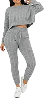 MyMixTrendz.Womens Loungewear Cable Knitted Top Bottom 2 Piece Tracksuit Co-Ords Set UK 8-14