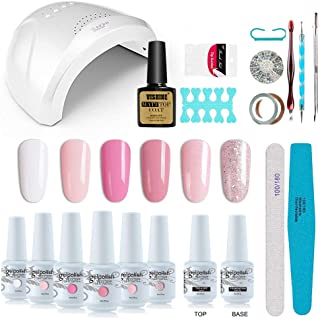 Vishine Gel Nail Polish Starter Kit with 48W SUNOne UV LED Nail Lamp Speed Dryer Manicure Tools 6 Pretty Colors Gel Polish Base and Top Coat #01