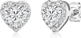 925 Sterling Silver CZ Cubic Zirconia Small Heart Star Pear Stud Earrings Fashion Jewelry For Women Girls 925 Sterling Sil...