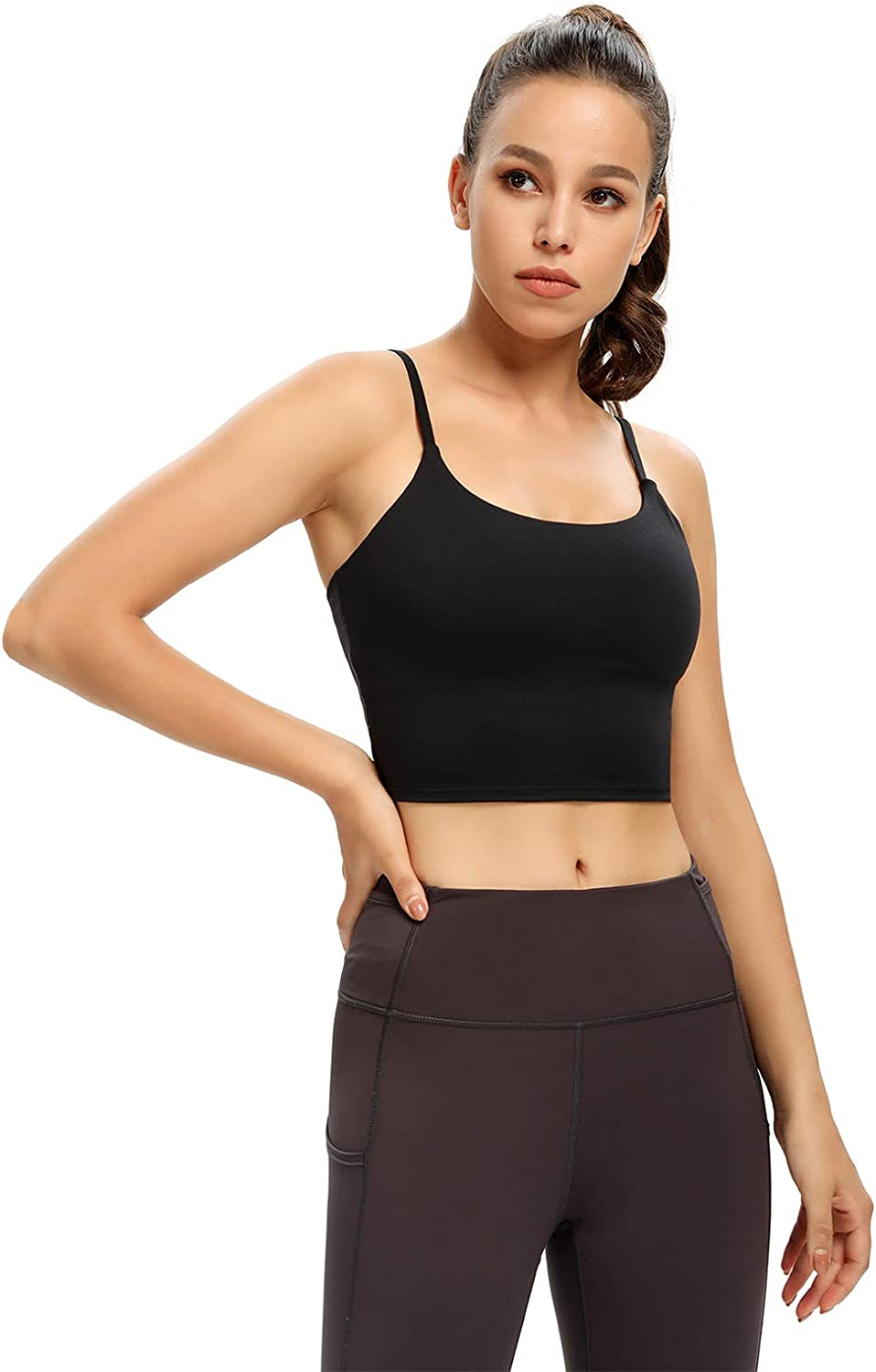 Crop Sport Bra for Women Yoga Running Workout Tank Top with Built in Bra Longline Removable Padded Bra