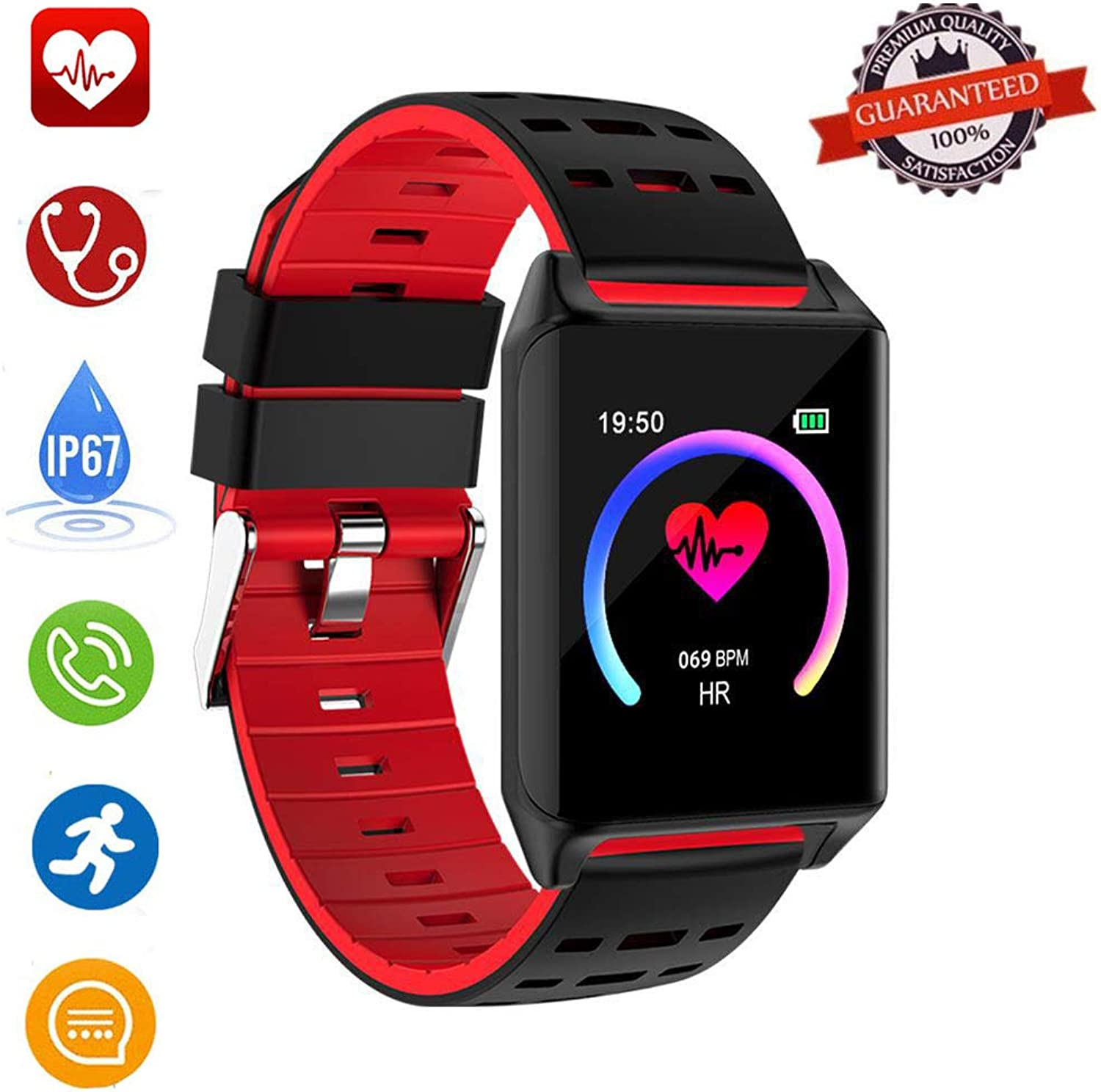Waterproof Fitness Tracker Smart Watch, MOGOI AK11 1.22  color Screen blueetooth Smart Activity Tracker Watch with Blood Pressure Heart Rate Step Calorie Sleep Monitor for Android iOS