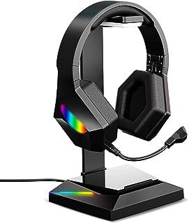 APPHOME Soporte para auriculares RGB con hub USB, soporte para auriculares para videojuegos, con cable alargador USB 2.0 y puerto de carga tipo C, apto para videojuegos de escritorio, accesorios para videojuegos