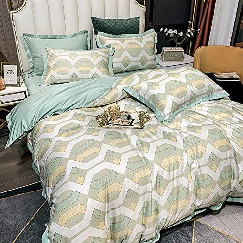 Juego de edredón con 2 fundas de almohada,Kit de seda de primavera y verano, viento nórdico, espectáculo de impresión, cuatro piezas, lavado de agua regalo de cama de seda-B_1,8 m de cama (4 piezas)