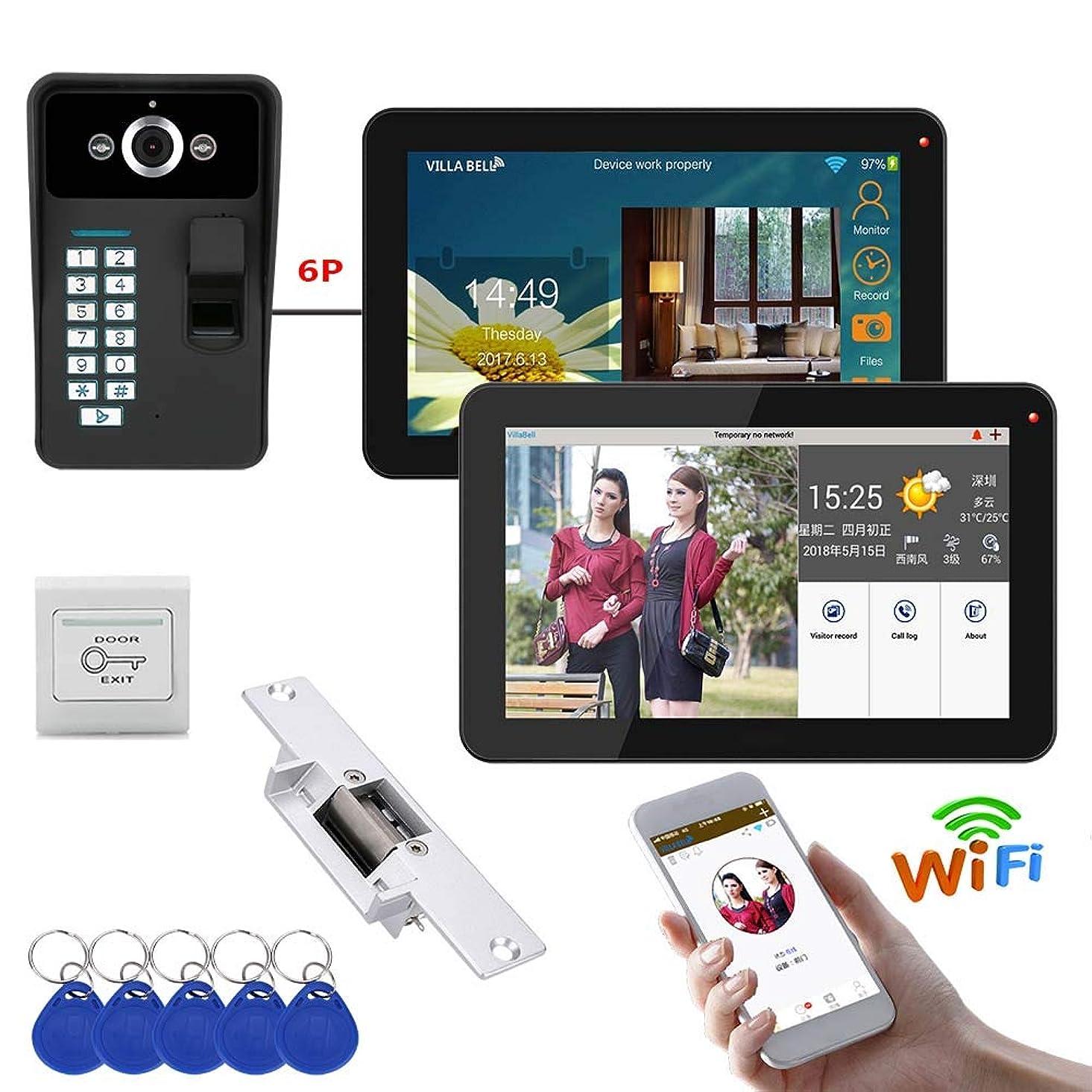 YEZHIMEI 9-inch WiFi Smart Video doorbell Phone intercom System doorbell Fingerprint Unlock RFID IR-Cut HD 1000TVL Camera doorbell wfhqh548788