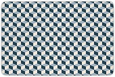 Bathroom Bath Rug Kitchen Floor Mat Carpet,Retro,3D Style Cubes Squares Pattern Geometric Old Fashioned Abstract Futuristic,B