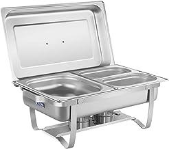 Royal Catering Chafing Dish Chauffe-Plat Bain-Marie RCCD-1.3GN-1 (2 brûleurs sécurisés, Récipient pour l'eau 6,5 L, Récipi...