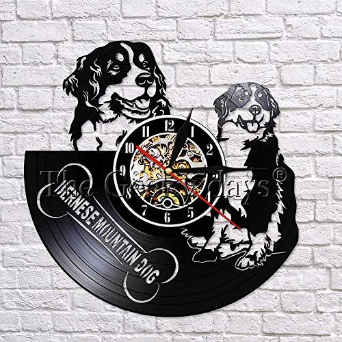 JXCDNB Berner Sennenhund Wanduhr Schweizer Sennenhund Schallplatte 3D Wand kreative Wanddekoration 12 Zoll