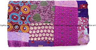Sophia Art Handmade Vintage Patchwork King Size Home Decorative Kantha Reversible Quilt, Kantha Bedspread, Indian Blanket, Kantha Throw, Coverlet 90X108 inches (Purple)