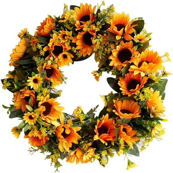 Bonlting Wall Hanging Decor Artificial Sunflower Flower Wreath Decorative Fake Flower Wreath For Home Wedding Festival Ornaments