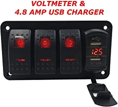 Switchtec 3 5 7 Gang Rocker Switch Aluminum Panel & 4.8 Amps Dual USB Fast Charger with Voltmeter, Red Backlit Led, Pre-Wired for Marine, Boat, Car, Truck, Polaris, Jeep (4.8A USB & 3 Switches Red)