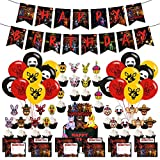 Five Nights at Freddy Party Supplies, Includes Freddy Birthday Banner, 24 Balloons,12 Invitation Cards, 24 Cupcake Toppers, for Freddy theme Party Decorations