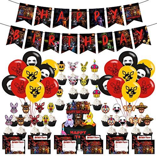 Five Nights at Freddy Geburtstagsparty-Zubehör-Set, 1 Banner, 24 Luftballons, 12 Einladungskarten, 24 kleine Wimpel, 1 große Flagge für Party-Dekorationen