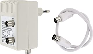 HAVA 2 Geräte Digital Steckdose Antennenverstärker   2x15dB   47 862MHz   geeignet für Kabel TV Sky Full HD 1080p DVB T DVB T2 DVB C Radio (UHF, VHF, UKW)