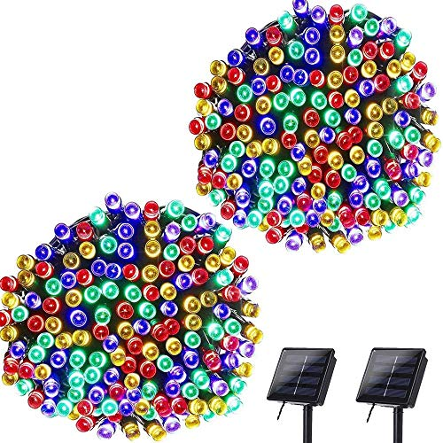 Lyhope Solar Christmas Lights, 72ft 200 LED 8 Modes Waterproof Christmas Fairy String Lights for Garden, Patio, Home, Party, Wedding, Holiday, Xmas Tree, Outdoor Decor (Multi-Color, 2 Pack)
