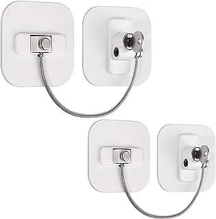 2 Packs Child Safety Locks with Keys for Refrigerator Fridge Appliances Kitchen Cabinet Drawer Doors