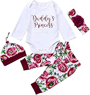 Infant Child Toddler Newborn Baby Girls Layette Set Print Romper+Plaid Pants+Hat Headband Outfits Set