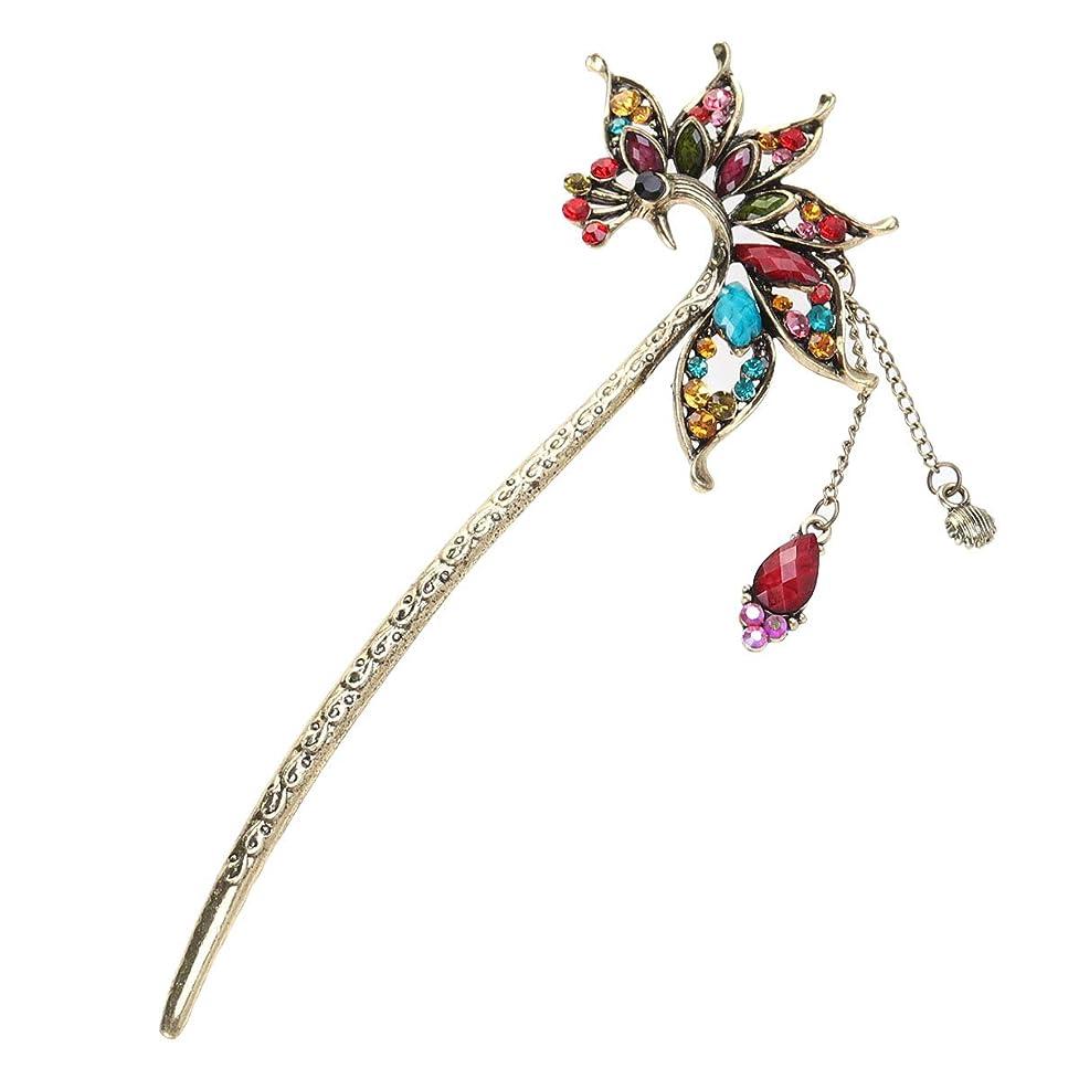 お勧め肉腫りLURROSE レトロな孔雀ヘアピンヴィンテージヘアスティック中国の古典的な髪の箸クリスタルタッセル付き(パープル)
