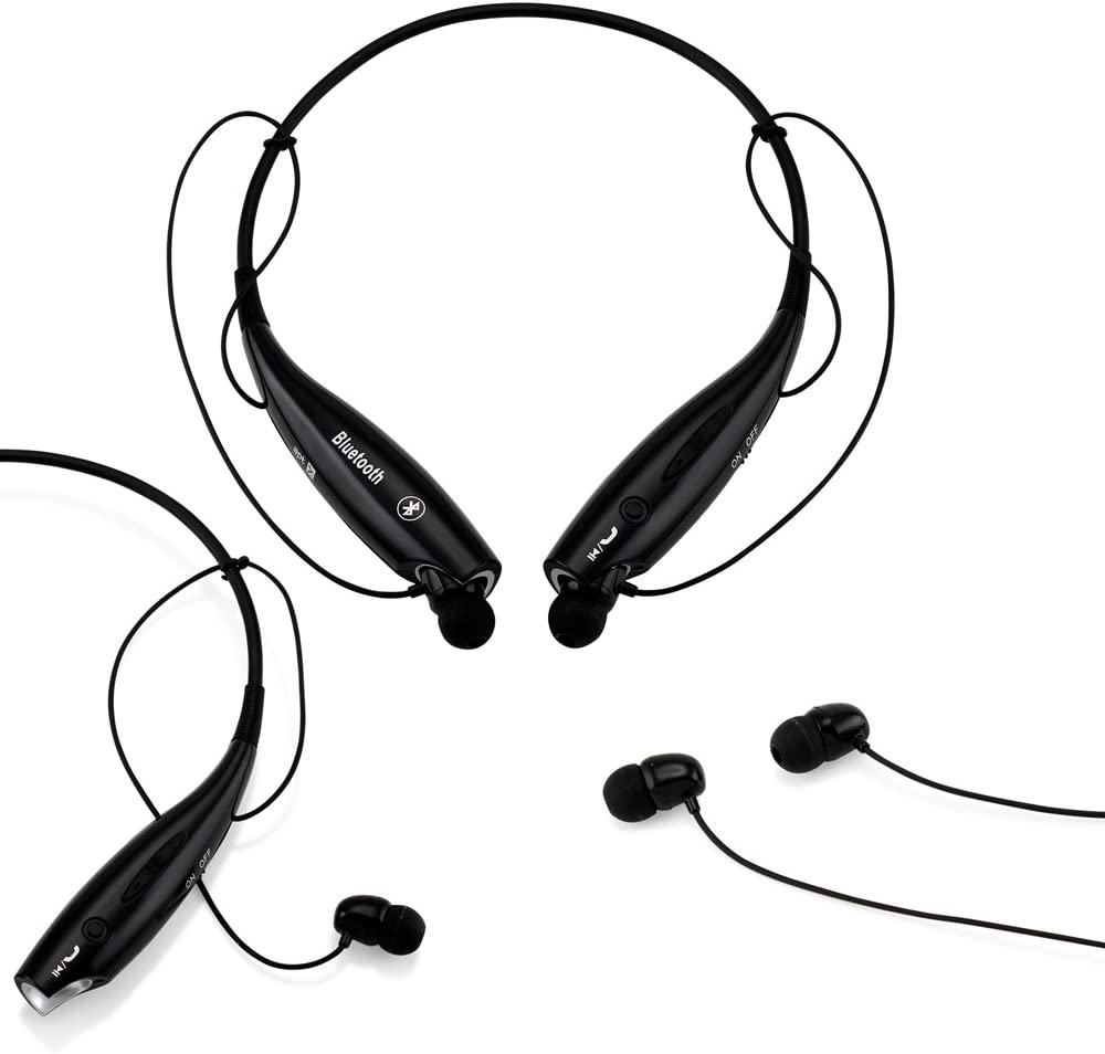 GEARONIC TM 5899-Black-Ear_5416 Wireless Sport Stereo Headset Bluetooth Earphone Headphone for Android or iPhone, Black
