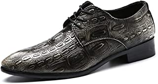 HUAHs0 Business Oxford for Men Loafer Shoes Lace Up PU Upper Block Heel Faux Crocodile Skin Embossed Pointed Toe British Style Waxy Shoelaces` (Color : Silver, Size : 48 EU)