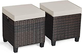 Tangkula 2 Pieces Outdoor Patio Ottoman, All Weather Rattan Wicker Ottoman Seat, Patio Rattan Furniture, Outdoor Footstool Footrest Seat w/Removable Cushions (Brown)