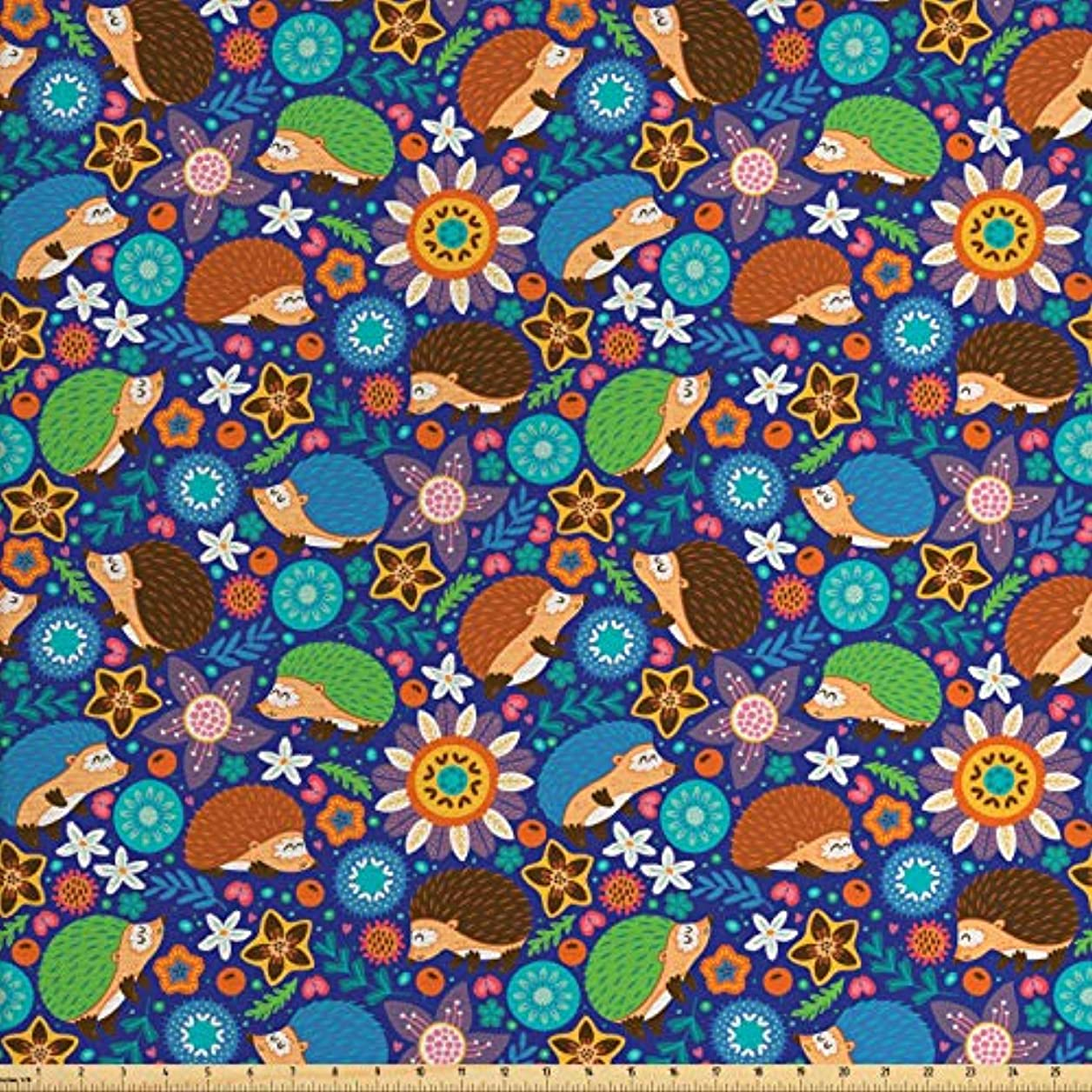 Lunarable Animal Fabric by The Yard, Cute Cartoon Hedgehogs Living in Fantasy Forest Pattern with Flowers Branches Leaves, Decorative Fabric for Upholstery and Home Accents, 1 Yard, Multicolor cjhjshmrsvwvrzih