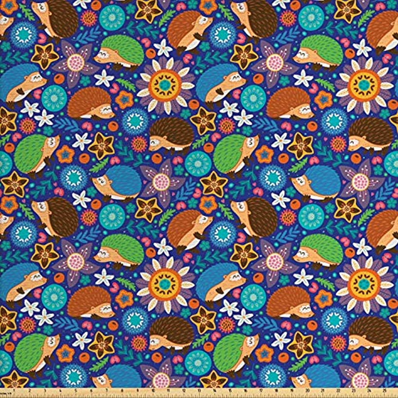Lunarable Animal Fabric by The Yard, Cute Cartoon Hedgehogs Living in Fantasy Forest Pattern with Flowers Branches Leaves, Decorative Fabric for Upholstery and Home Accents, 1 Yard, Multicolor