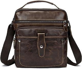 Zicac Men's Vintage Genuine Leather Shoulder Handbag Messenger Bag Purse (Coffee)