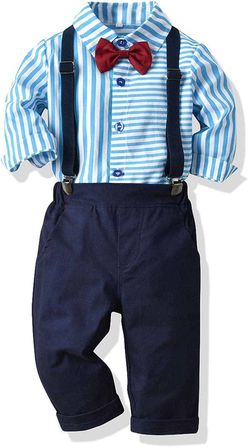 Astellarie Toddler Boys Gentleman Suits 2Pcs Long Sleeve Bowtie Dress Shirt +Suspender Pant Outfit Clothes Set