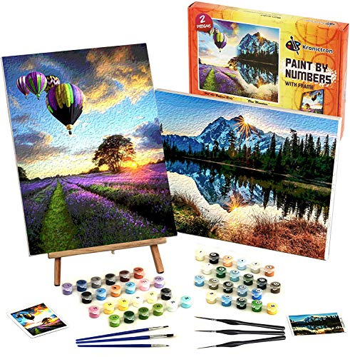 Framed Paint by Numbers (2 Designs) with Detail Paint Brushes & Table Top Easel | 30x40 cm Printed Canvas, Premium Brushes and Installation | DIY Kits | Gift for Beginners or Hobbyists