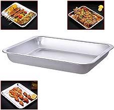 Bandeja de horno de horno tostador de acero inoxidable Pizza profesional Plato de pescado a la parrilla, servicio pesado y saludable, borde profundo,apto para lavavajillas, 13 '' x 10 '' x 1.7 ''