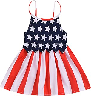 Toddler Kids Baby Girls 4th of July Outfit American Flag Dress Stars Striped Straps Princess Beach Sundress