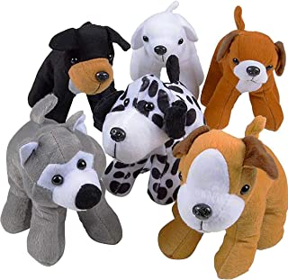 Plush Puppy Dogs (Pack of 6) Assorted Cute Stuffed Puppies - 6 Inches, Small Plushed Animals, 6 Designs - for Birthday Par...