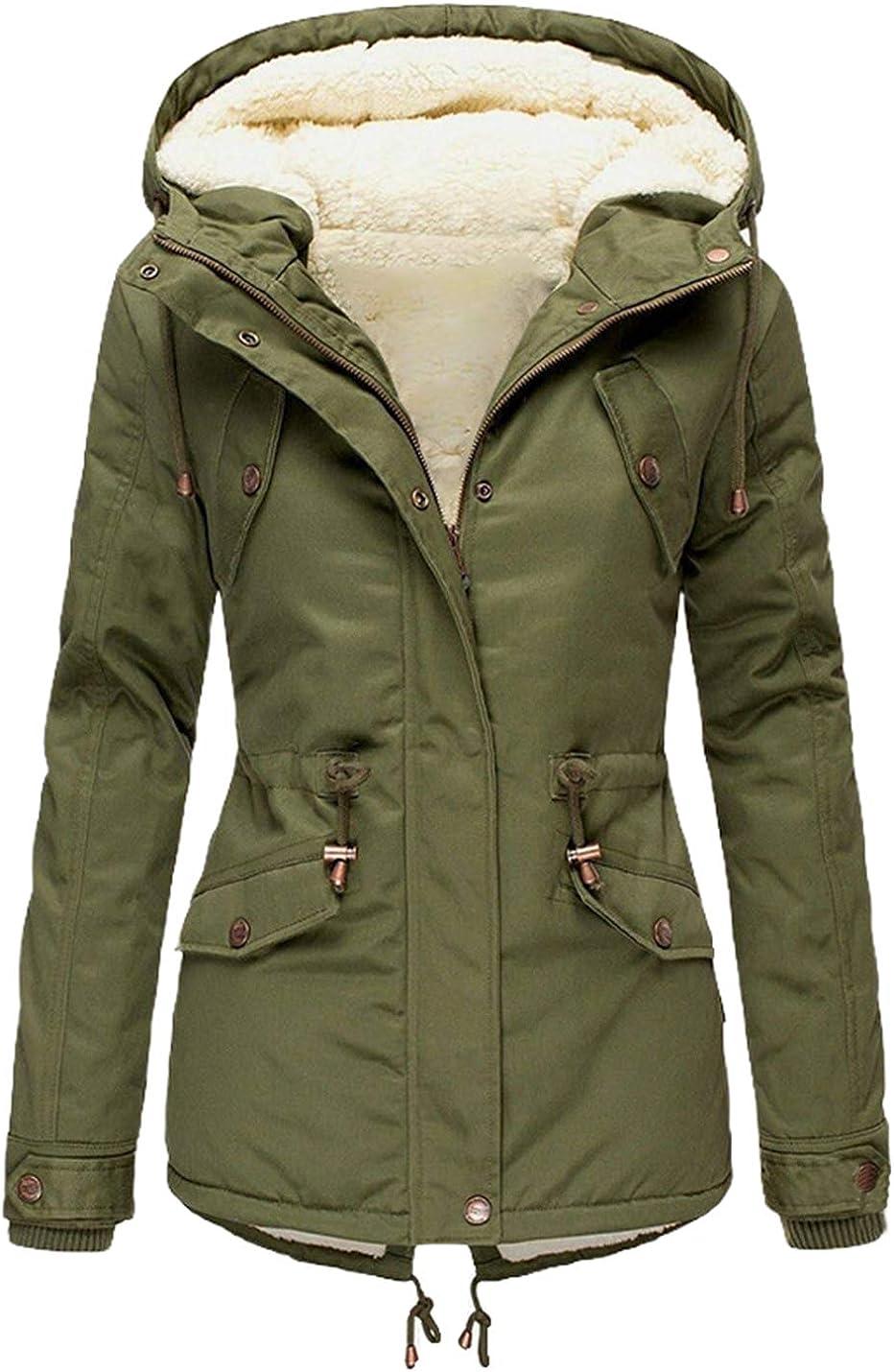 PUWEI Women's Faux Fur Hooded Coat Loose Mid Length Fleece Lined Padded Jacket