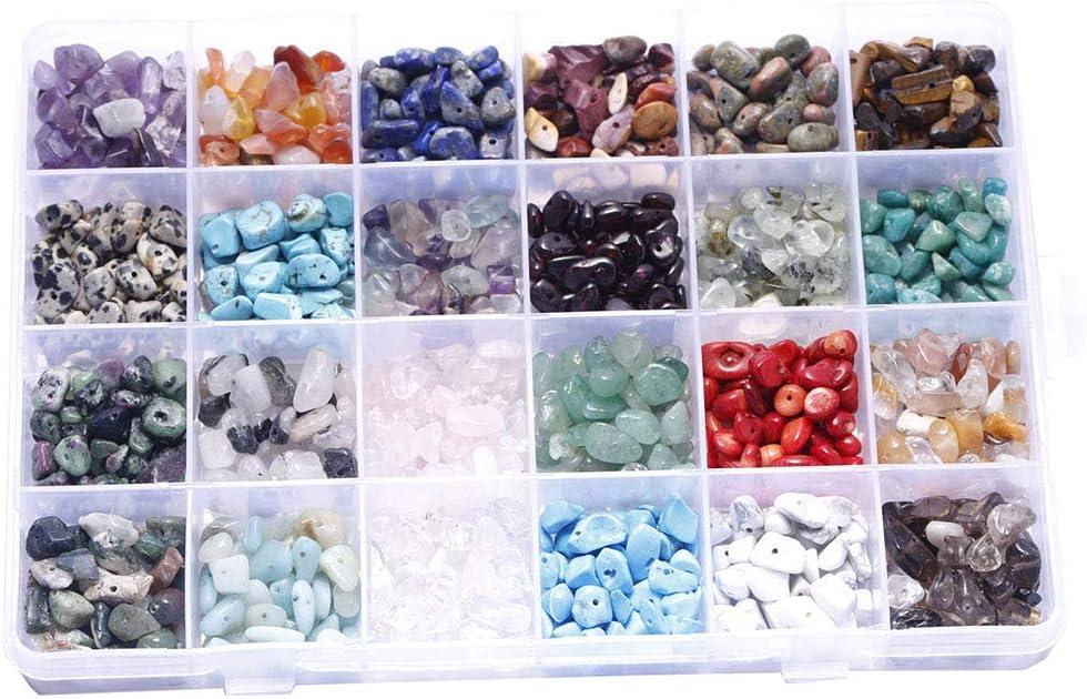 Product Kamonda 24 Grids Gemstone Beads Loose Irregular free Set Box Assorted