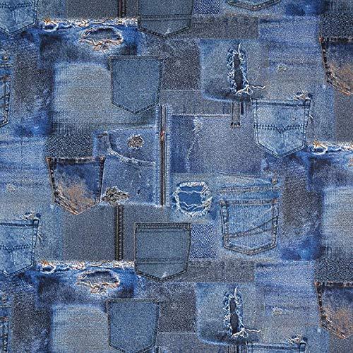 Fabulous Fabrics Dekostoff Ottoman Jeans – blau — Meterware ab 0,5m — zum Nähen von Kissen, Vorhänge und Homeaccessoires