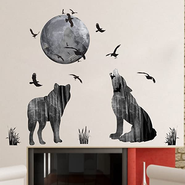 Woodland Arts 33 X 28 Moon Wolves Mountain Forests Silhouette Animals Wall Stickers Decals Decorations For Children Nursery Kids Room