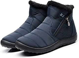 ✿HebeTop✿ Women Warm Ankle Snow Boots Fur Lining Thickening Slip On Winter Shoes
