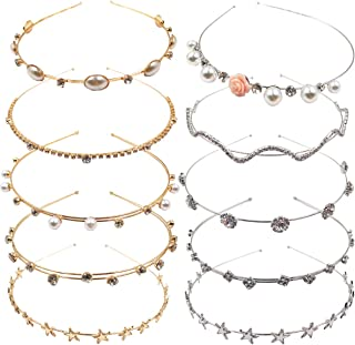 10PCS Crystal Headband Pearls Flower Hairbands Jewelry Rhinestone Fashion Headbands Gold Sliver Metal Headbands Headdress ...