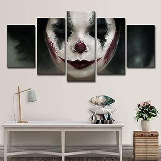 upnanren 75CM Framed 5 Board Modern Home Decor Painting Canvas sad Clown Painting Room on Canvas