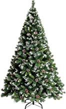 Christmas Tree with Flocked Snow Pine Cone Decoration Unlit Sturdy Metal Stand Artificial Christmas Tree Green 210cm(Color...