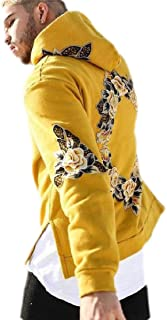 FSSE Mens Casual Plus Size Floral Print Loose Fit Pullover Hoodie Sweatshirt