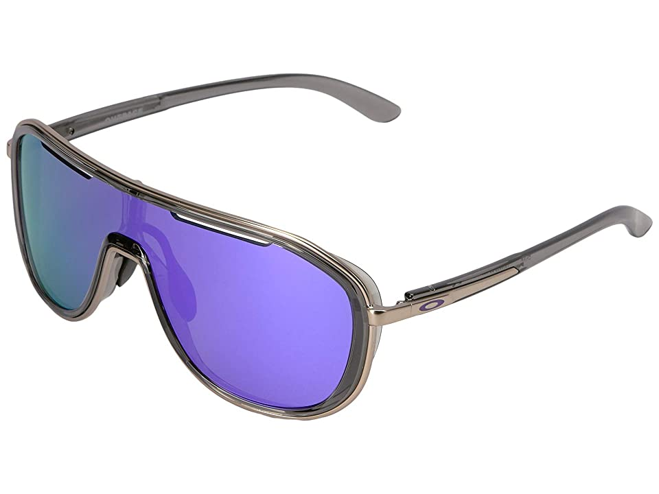 Oakley Outpace (Onyx/Satin Chrome w/ Violet Iridium) Sport Sunglasses