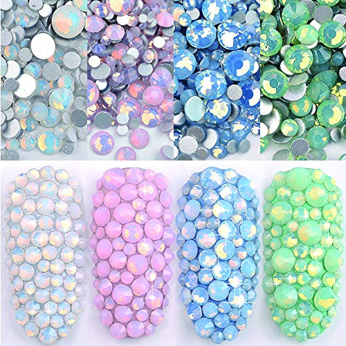 DAODER 4pack Sparkly Opal Rhinestones for Nails 3D Nail Art Rhinestones Kit Crystal Diamond Rhinestones and Charms Nail Decoration Flatback...